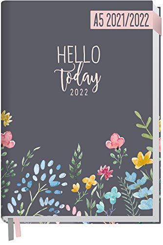 Chäff-Timer Classic A5 Kalender 2021/2022 [Happy Flower] Terminplaner, Terminkalender 18 Monate: Juli 2021 bis Dez. 2022   Wochenkalender, Organizer mit Wochenplaner   nachhaltig & klimaneutral