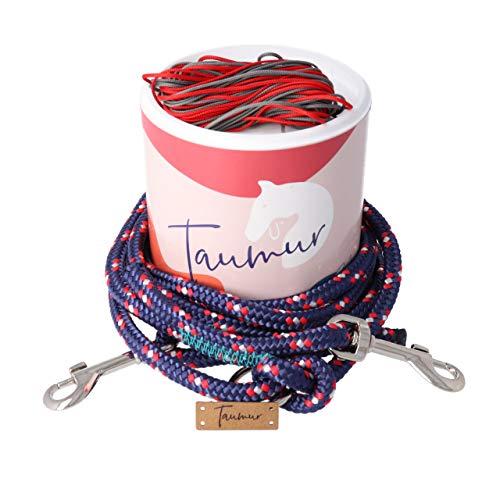 Taumur Hundeleinen Bastelset - vorgenäht - einfaches Basteln für Einsteiger - für mittelgroße Hunde - dunkelblau/weiß/rot