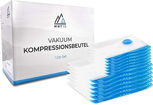 MNT10 Vakuumbeutel für Kleidung Staubsauger I 12er Set Kleiderbeutel in Größen M und L I Vakuum Aufbewahrungsbeutel für Kleidung, Bettdecken I Robust und Wiederverwendbar