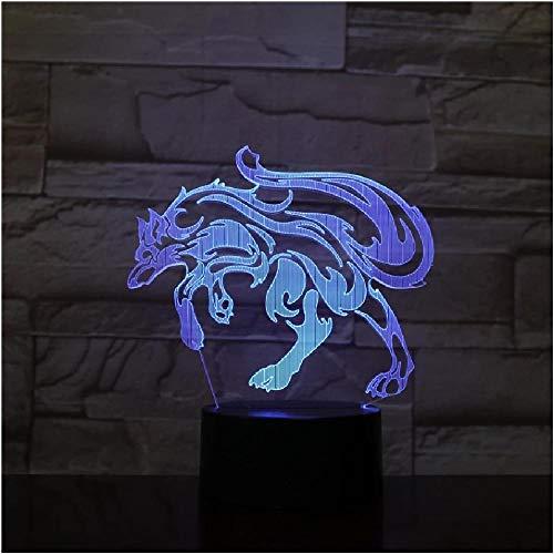 Lámpara abstracta Fox 3D, lámparas de noche LED de 7 colores para niños, mesa USB LED táctil, lámpara de habitación de luz nocturna para dormir para bebés