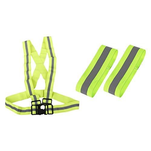 perfeclan Cinturón Reflectante de Seguridad de Visibilidad + 2 Pulseras para Mujeres, Hombres, Al Aire Libre, Noche, Jogging, Trabajo