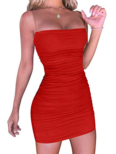 YMDUCH Women's Sexy Adjustable Spaghetti Strap Bodycon Ruched Mini Club Dress Red