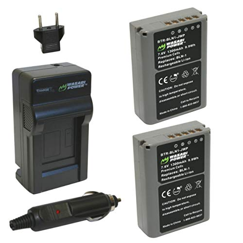 Wasabi Power Battery (2-Pack) and Charger for Olympus BLN-1, BCN-1 and Olympus OM-D E-M1, OM-D E-M5, PEN E-P5