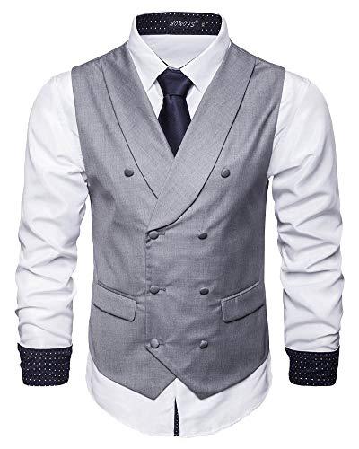 Chaleco Hombre Un Solo Pecho Trajes de Negocios Blazer Sin Manga Cuello en V Chalecos de Ceremonia Boda Waistcoat Negocio