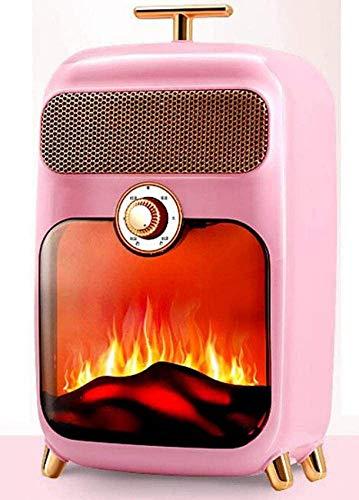 HYLH Retro 900W Calentador de Quemador de leña Estufa de Fuego W Efecto de Llama Fuego Chimenea Independiente Leña Luz LED Temperatura Ajustable/Diseño de Llama Ventana Grande, Azul