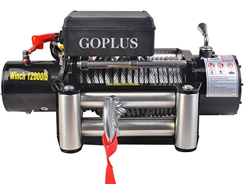 12000 lbs 12 V Electric Recovery Winch Powerful Horsepower and Extra Fast Speed, Free Cordless Remote Controller