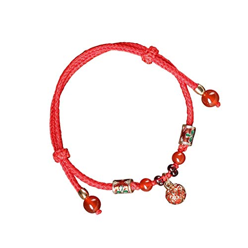 Women Dainty Anklet Vintage Red Rope Foot Ornament With A String Of Bells and Anklet with Sound Beach Foot Chain
