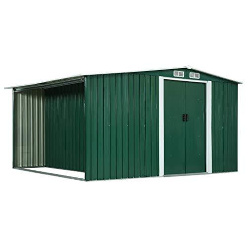 RIKOJ Gartenhaus mit Schiebetür mit Schiebetüren grün 329,5 x 312 x 178 cm Stahl