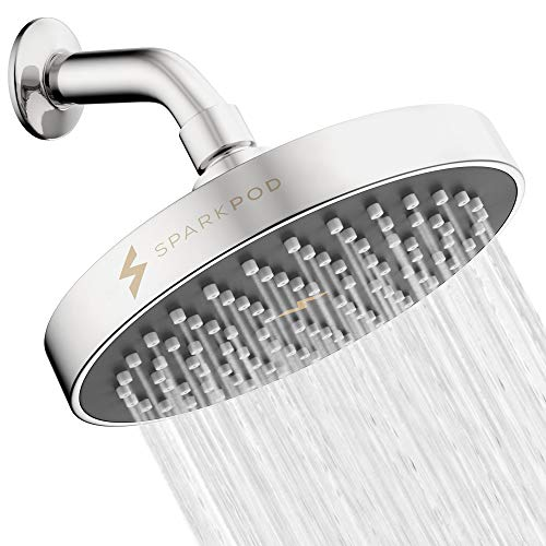 SparkPod Shower Head - High Pressure Rain - Luxury Modern Look - Easy Tool Free Installation - The Perfect Adjustable & Heavy Duty Universal Replacement For Your Bathroom Shower Heads