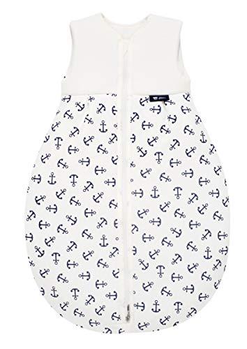 Alvi Baby Mäxchen Light - Leichter Sommer-Schlafsack ohne Arm Babys Schlafsack ungefüttert Birnenform, 100% Baumwolle Öko-Tex 100 zertifiziert, Größe:90, Design:Anker marine 833-1