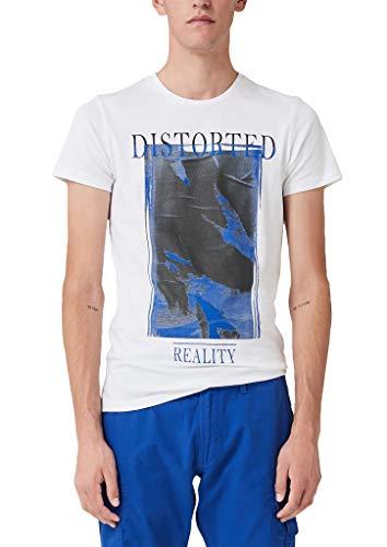 Q/S designed by - s.Oliver Herren 40.908.32.5400 T-Shirt, Weiß (White 0100), XL