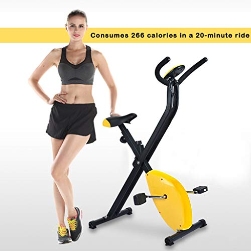 Folding Super Mute Exercise Bike, Adjustable Indoor Home Gym Equiment Stationary Fitness Bicycle (Yellow)