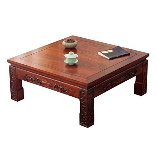 Coffee Tables Japanese Style Modern Simple Bay Window Table Tatami Antique Old Elm Kang Table Japanese-Style Low Table (Color : Brown, Size : 808030cm)