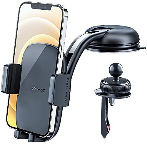 ACEFAST Soporte Móvil Coche 3 Formas de Fijación para Salpicadero o Rejilla Aire Acondicionado, Rotación de 360° para Teléfono en Coche o Mesa, Accesorio Compatible con Móviles desde 4.5 a 6.7 Pulgada