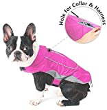 Premium Outdoor Sport Waterproof Dog Jacket Winter Warm Large Dog Coat with Harness Hole Pink - Small