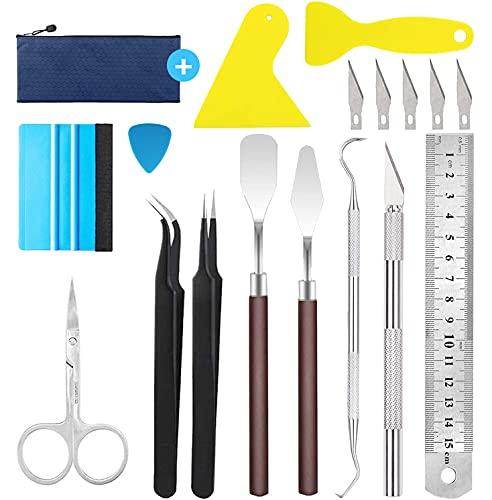 Lot de 12 outils de bricolage en vinyle, outils de ponçage en acier inoxydable avec HTV, Cameos, inscriptions