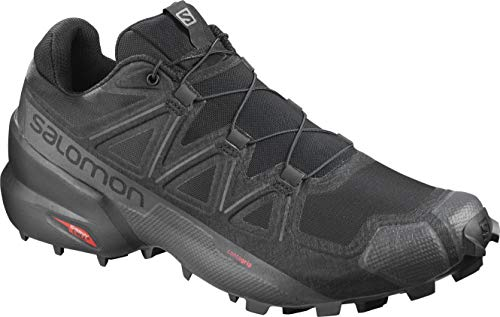 Salomon Men's Speedcross 5 Trail Running Shoe, Black/Black/PHANTOM, 10.5