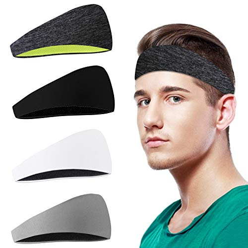 Dapaser 4Pack Sports Headbands, Sweat Headbands for Men Women Kids Workout non slip, Stretchy Sweat Band Unisex for Running, Hiking, Yoga, Indoor Outdoor Sports Fitness, Helmet Friendly Fashion Colors
