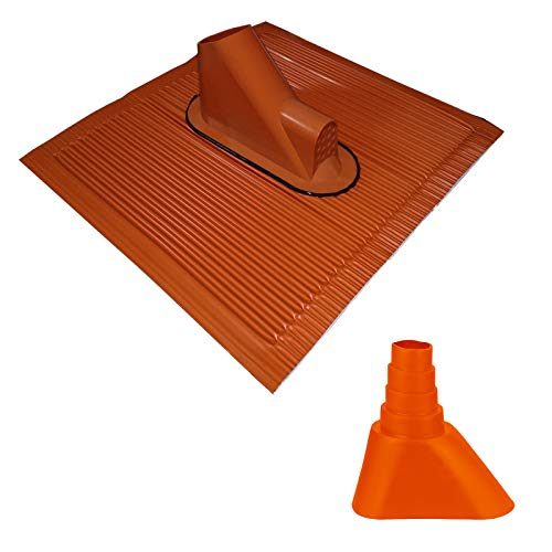 HB-DIGITAL Universal Dachpfanne aus ALU-Kunststoff Verbindung mit Kabeldurchführung Rot ➕ Gummimanschette Orange | Mastabdichtung Manschette Abdichtung Frankfurter Dachziegel Dachabdeckung
