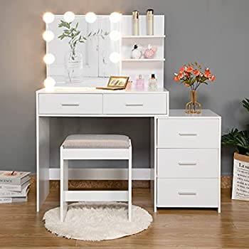 usikey Large Vanity Set with 10 LED Lights Makeup Table Vanity Table with Movable 3-Drawer Chest Dressing Vanity Table with Cushioned Stool 2 Shelves & 2 Drawers for Women Girls White