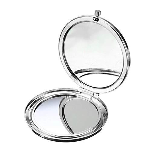LASISZ Miroir de Maquillage Portable 70mm Miroirs pliants Couleur Unie en métal Ronde Double-Side Pop-Up Pocket Mirror Beauty Cosmetic Tools, Silver
