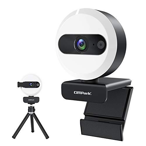 Campark Webcam 2k para PC con Luz Circular con Control Táctil, Trípode y Cubierta de Privacidad Gratis, Cámara Web con Micrófono Estéreo para la Vida Cotidiana y el Videochat