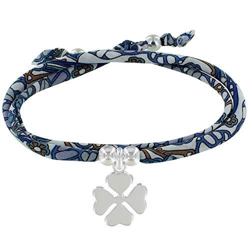 LES POULETTES BIJOUX - Bracelet Double Tour Lien Liberty Papillon et Trèfle Argent - Classics - Bleu