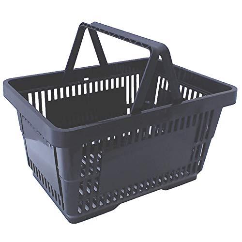 gebar Einkaufskörbe 10 Stück schwarz mit Zwei Tragegriffe aus Plastik 20 Liter Verkaufskörbe stapelbar Griff schwarz