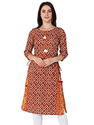 Gulmohar Jaipur Womens Cotton Straight Kurti (Red)