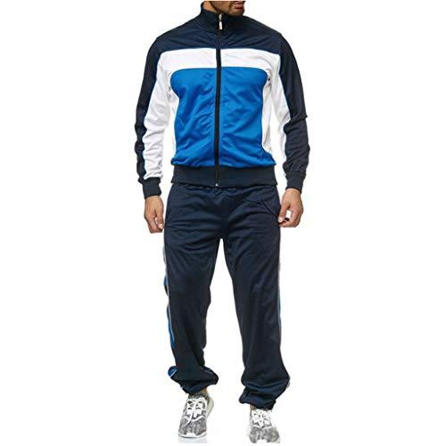 Exteren Conjunto de chándal Completo con Capucha y Forro Polar para Hombre, Azul, X-Large
