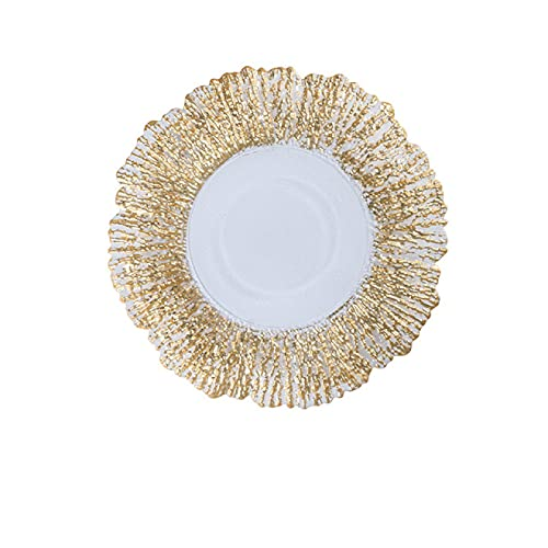 RONGXIANMA Placa de Vidrio de lámina de Oro Placa de Fruta de Coral Creativa Placa de Almacenamiento de decoración de Sala de Estar