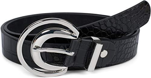 styleBREAKER Damen Gürtel Unifarben mit Oberfläche in Krokodilleder Optik und Halbmond förmiger Schließe, kürzbar 03010108, Größe:100cm, Farbe:Schwarz