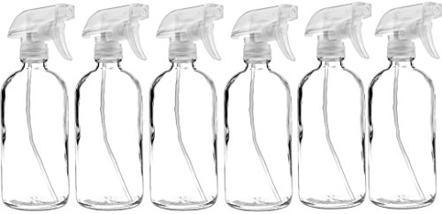 6 Pack of 16 oz Refillable Clear Glass Spray Bottles