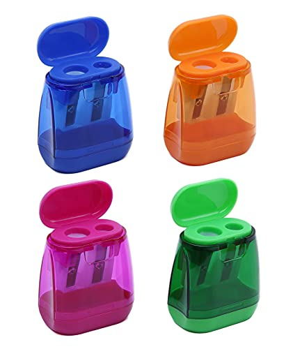4PCS Manual Pencil Sharpener,Double Holes Colored Prism Pencil Sharpeners with lid for Kids,Suitable...