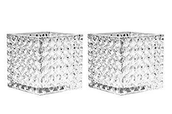 Kaachli Glass Cube Vase Clear Square Container Candle Holders Candy Jar Ice Bucket 5 x5 x5  Floral Container Planter Terrarium Storage for Ceremony Event Office Home Decor Set of 2