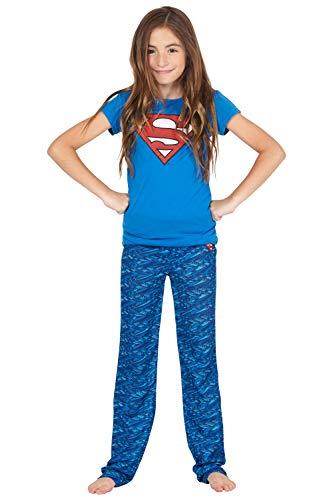 DC Comics Girls 'Superman Supergirl Digital Athletic Sport' Yoga Pajama Set, Blue, 6/6x
