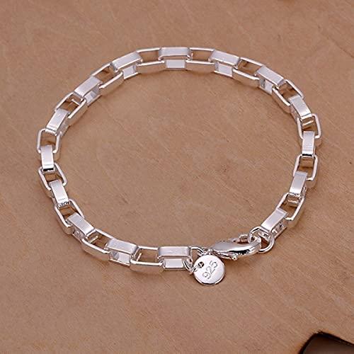 PPuujia Cadena de eslabones de moda para mujer y hombre, cadena de joyería de plata, para fiestas y regalos al por mayor (color metálico: chapado en plata)