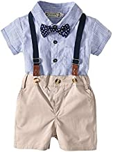Xifamniy Baby Boy Gentleman Outfits Formal Set Short Sleeve Romper Shirt with Bow Tie and Overalls Bib Pants Infant Wedding Suit (Blue, 6-12 Months