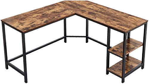 ZXCV L-Shaped Computer Desk, Corner Desk, Office Study Workstation with Shelves for Home Office, Space-Saving, Easy to Assemble, Industrial, Rustic Brown and Black