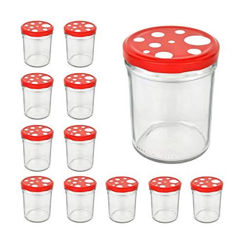 CapCro 12er Set Sturzglas 435 ml To 82 Fliegenpilz Deckel rot weiß gepunktet Marmeladenglas Einmachglas Einweckglas