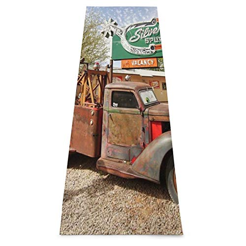 CONICIXI Esterilla Yoga Vintage Farm Truck Retro coche antiguo y carteles antiguos en la ciudad de la campiña occidental Colchonetas de ejercicio Pilates para entrenamiento en casa Gimnasio Fitness