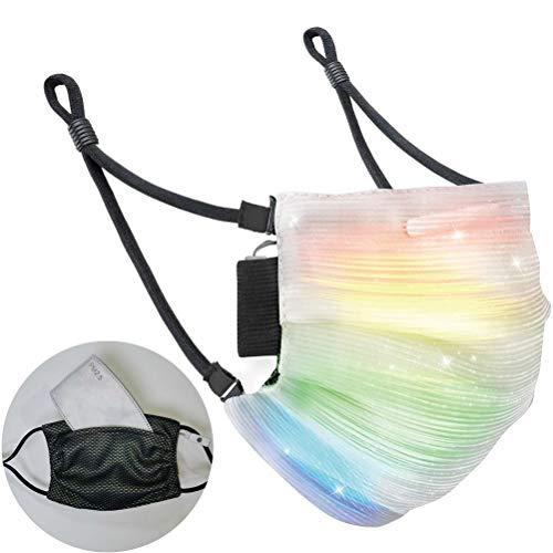 taianle Leuchtende Maske - 7 Farblichter LED Leuchten Gesicht Abdeckung USB Wiederaufladbare Leuchtende Leuchtende Abdeckung für Weihnachtsfeier Festival Tanzen Rave Maskerade Kostüme