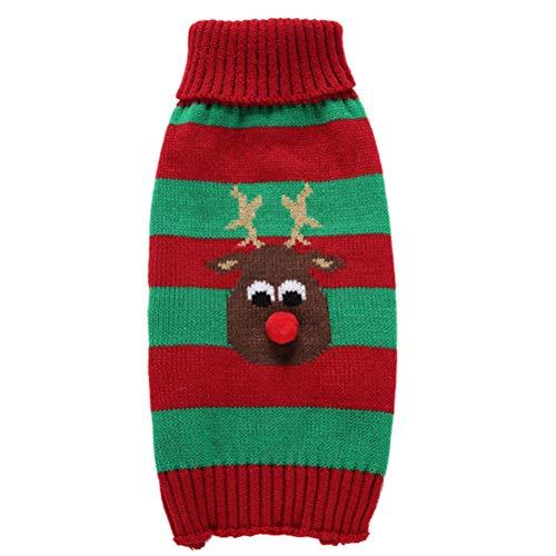 POPETPOP Haustier Weihnachtskostüm-Neues Jahr Pet Kostüm Warme Pullover Mode-Streifen Weihnachtskleidung für Welpen-Hund (Rot und Grün, Größe XL)