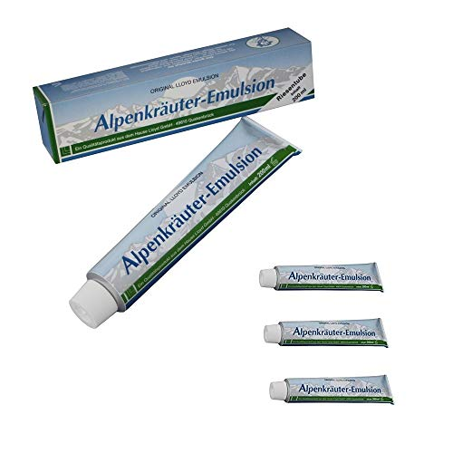 4X 200ml Lloyd Alpenkräuter Emulsion, Wellness, Sport, Massage, Creme, Balsam, Massagecreme mit Kräuter (800ml)