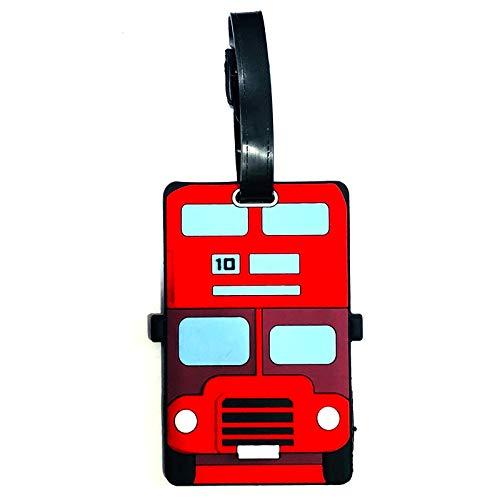 Go-Gifts Leuke Nieuwigheid Londen Bus Ontwerp PVC Bagage Tag, Gemengd, Hoogte 10cm Breedte 6cm Diepte 0.5cm