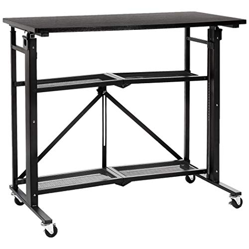AmazonBasics Foldable Standing Computer Desk with Storage Shelf, Adjustable Height, Easy Assembly -...