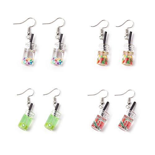 4 Paar Früchte Baumeln Ohrringe, 3D Mini Fruit Marmelade Flasche Ohrringe,Kiwi Ohrringe,Wassermelonenohrringe,Apfel Ohrringe, Süßigkeiten Ohrringe,3D Obst Baumeln Ohrring niedlich für Frauen Mädchen