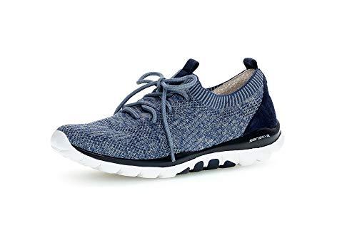 Gabor Damen Sneaker, Frauen Slip-On Sneaker,Übergrößen,Optifit- Wechselfußbett, sportschuh Gummizug atmungsaktiv Damen,blau Kombi,37.5 EU / 4.5 UK