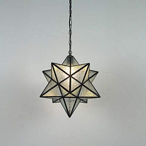 Lampada Pendant Light diamante della stella di vetro retro metallo Penta lampadario a sospensione E27 per il Corridoio Loft Living Room Ristorante Caffè (30cm)