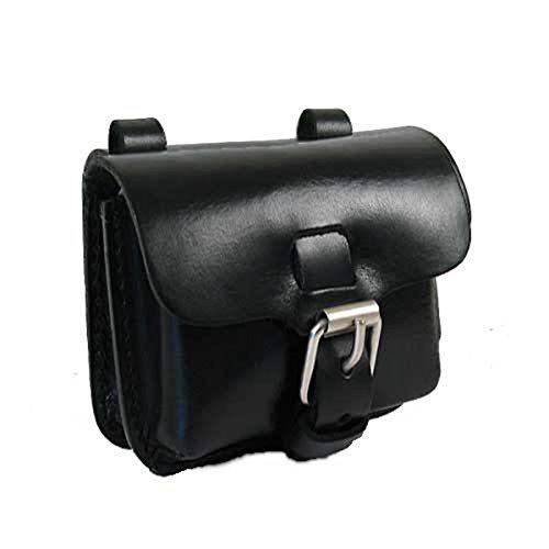 Shalimar Kleine Bauchtasche - Gürteltasche aus Sattelleder v Size: 'S' Horizontal, Colour:Black